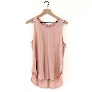 *betsy johnson* open knotted back drape pink tank